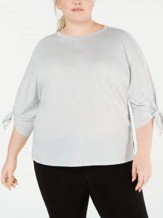 Calvin Klein Plus Size 2X Light Gray Pullover Top