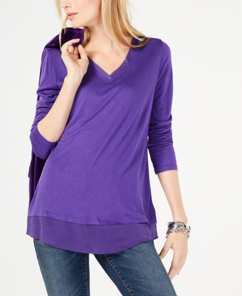 INC Women Size XS Purple Pullover Top