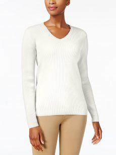 Karen Scott Petites Size PXL Eggshell Sweatshirt Sweater