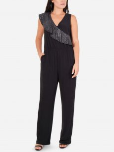 NY Collection Petites Size PL Black Jumpsuit