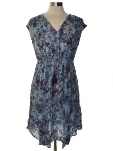 Style & Co. Women Size Large L Blue Brown A-Line Dress