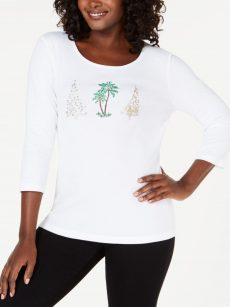 Karen Scott Petites Size PM White Pullover Top