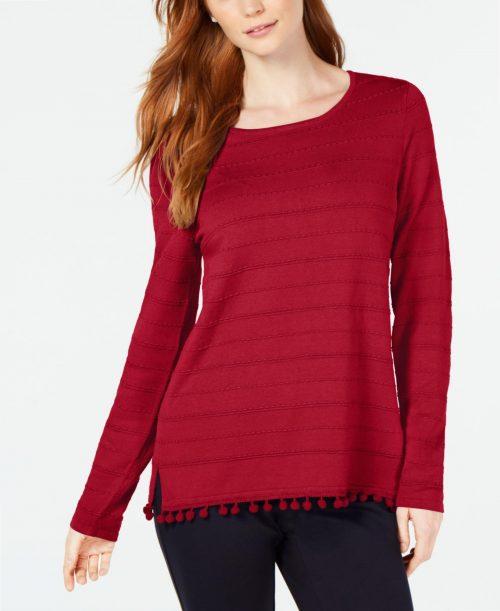 Charter Club Women Size Large L Red Sweatshirt Sweater