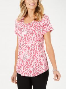 JM Collection Women Size XS Pink White T-Shirt Top