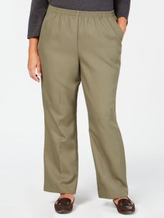 Karen Scott Plus Size 3X Green Straight-Leg Pants