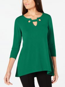 Alfani Women Size Medium M Dark Green Blouse Top
