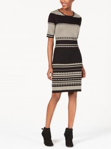 NY Collection Petites Size PS Black Beige Sweaterdress Dress
