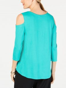 JM Collection Petites Size PP Turquoise Pullover Top