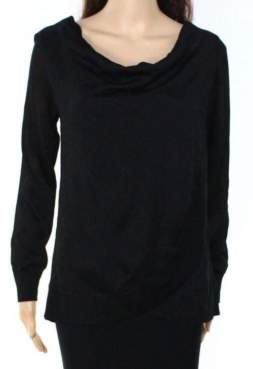 INC Women Size Medium M Black Faux-Wrap Sweater
