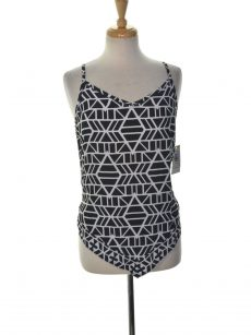 INC Women Size 4 Black White Tank Top