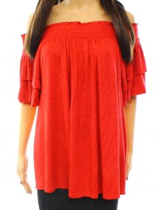 INC Women Size Medium M Red Blouse Top
