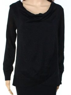 INC Women Size Small S Black Faux-Wrap Sweater