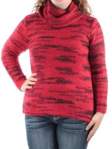 Kensie Women Size Large L Red Cowl Neck Sweater