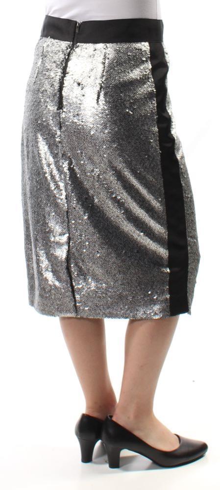 Bar III Women Size 2 Silver Pencil Skirt