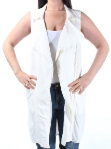Bar III Women Size Medium M White Vest