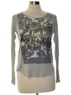 Belle Du Jour Juniors Size Small S Gray Graphic T-Shirt Top