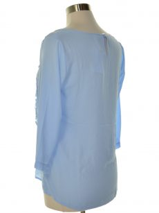 NY Collection Women Size Small S Light Blue Blouse Top