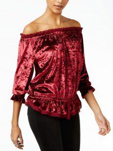 William Rast Women Size XL Dark Pink Off Shoulder Top