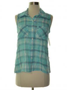 Style & Co. Petites Size PP Blue Button Down Shirt Top