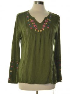 NY Collection Petites Size PXS Dark Green Blouse Top