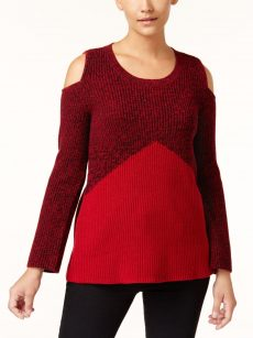 Style & Co. Women Size Small S Dark Red Knit Sweater