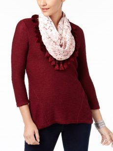 Style & Co. Women Size Small S Burgundy Pullover Sweater