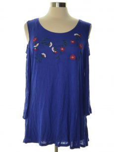 NY Collection Women Size XS Royal Blue Pullover Top