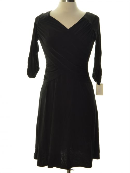 NY Collection Women Size Small S Black Faux-Wrap Dress