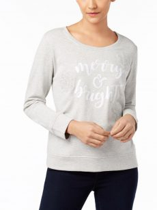 Style & Co. Women Size Medium M Light Gray Pullover Sweater