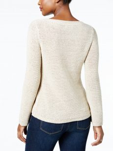 Style & Co. Women Size XL Beige Scoop Neck Sweater