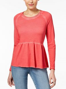 Style & Co. Women Size Large L Coral Fire Sweatshirt Sweater