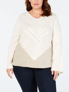 Style & Co. Plus Size 1X Ivory Tunic Sweater