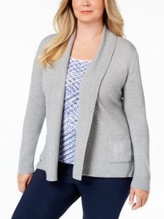 Karen Scott Plus Size 0X Grey Cardigan Sweater