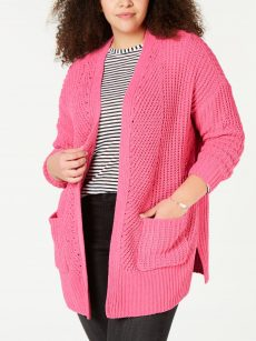 Style & Co. Plus Size 1X Pink Cardigan Sweater