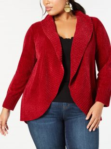 Style & Co. Plus Size 0X Dark Red Cardigan Sweater