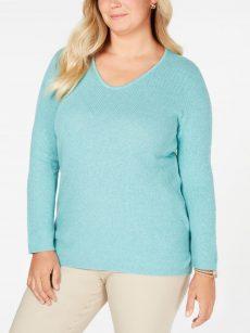 Karen Scott Plus Size 1X Aqua Blue Tunic Sweater