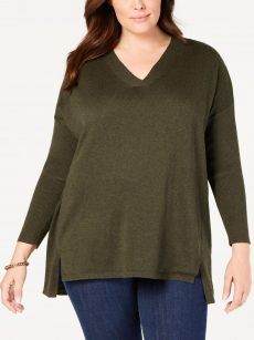 Style & Co. Plus Size 2X Green Tunic Sweater