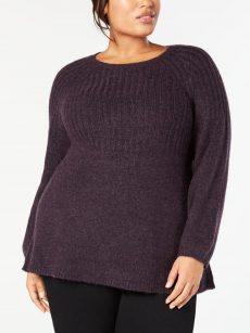 Style & Co. Plus Size 1X Dark Purple Tunic Sweater