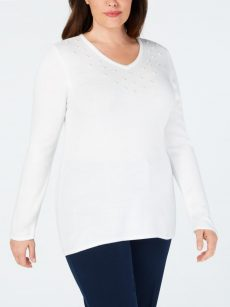 Karen Scott Plus Size 1X White Pullover Sweater