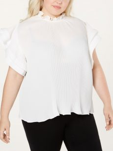 NY Collection Plus Size 3X White Blouse Top