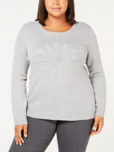 Karen Scott Plus Size 1X Gray Pullover Sweater