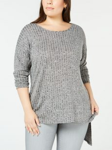 NY Collection Plus Size 1X Gray Sweatshirt Sweater