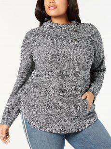 Style & Co. Plus Size 2X Black White Tunic Sweater