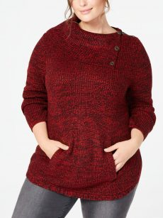 Style & Co. Plus Size 2X Red Tunic Sweater