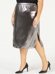 NY Collection Plus Size 2X Silver Pencil Skirt