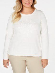 Karen Scott Plus Size 2X White Pullover Sweater