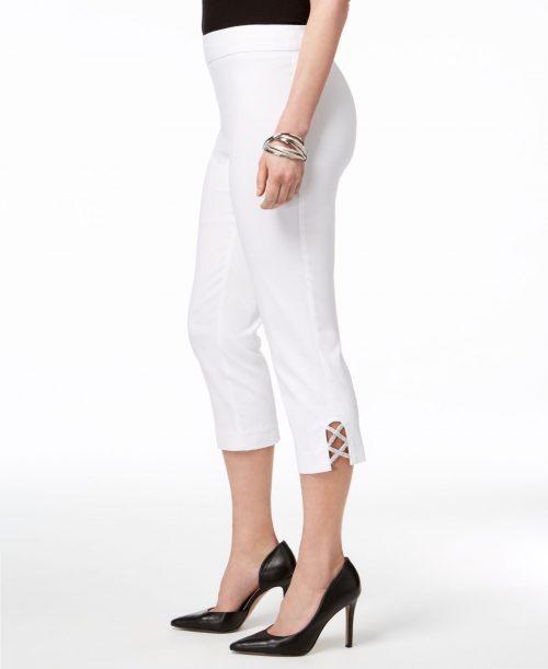 JM Collection Petites Size PL White Capris Cropped Pants