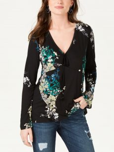 Style & Co. Women Size XS Black Blouse Top