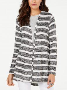 Style & Co. Women Size Medium M White Black Cardigan Sweater