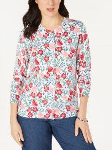 Karen Scott Women Size Large L White Cardigan Sweater